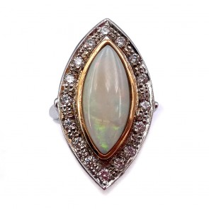 Anello, oro, maxi spola di opale