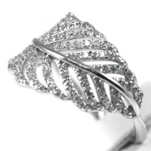 Anello piuma argento e zirconi - 2,6 gr