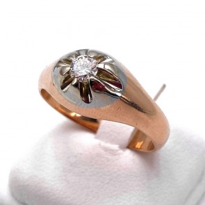 Anello uomo fascia/solitario oro e diamante  - 0.20-0.25 ct ; 9.72 gr