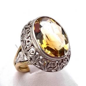 Anello in stile maxi oro e argento con stone quarzo citrino, 6.7 gr