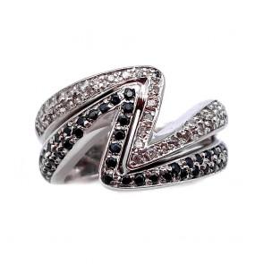 Anello fascia V doppia, oro bianco e diamanti bianco neri