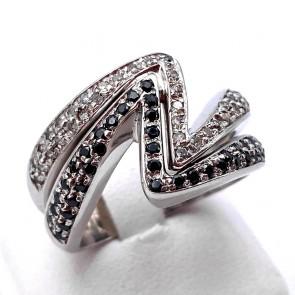 Anello fascia V doppia, oro bianco e diamanti bianco neri - 0.80-0.85 ct; 11.91 gr