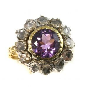 Anello toppa circolare in stile, oro, diamanti