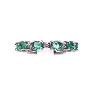 Anello eternelle oro, diamanti - 0.15 ct- e smeraldi