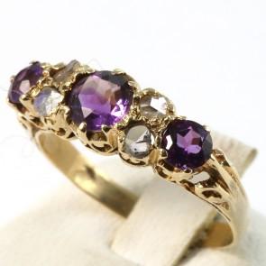 Anello riviera in stile, oro, diamanti -0.70-0.80 ct- e ametista -6.4 gr