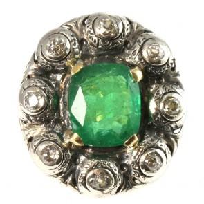Anello maxi margherita in stile, oro, smeraldo