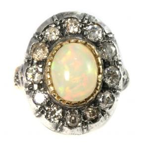 Anello maxi margherita in stile, oro, opale