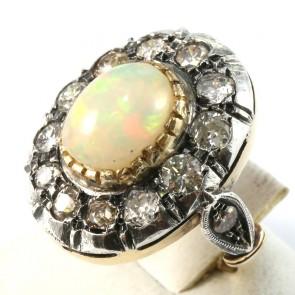 Anello maxi margherita in stile, oro, opale - 3.25 ct e diamanti -1.75-1.80 ct- su argento