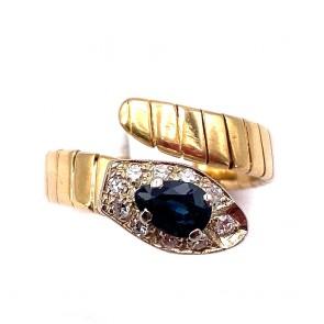 Anello serpente oro, zaffiro e diamanti