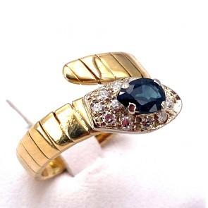 Anello serpente oro, zaffiro -0.60-0.70 ct- e diamanti - 0.10-0.15 ct. 7.06 gr.