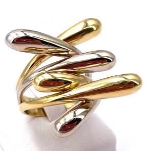 Anello maxi contrariè triplo fantasia, oro bicolore.  16.82 gr
