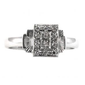 Anello rettangolare, oro e diamanti