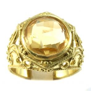 Anello fascia in stile, oro traforato, e quarzo citrino