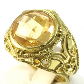 Anello fascia in stile, oro traforato, e quarzo citrino -8.4 gr