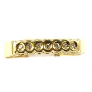 Anello riviera, oro e 7 diamanti taglio brillante
