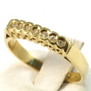 Anello riviera, oro e 7 diamanti taglio brillante - per 0.16-0.18 ct; 3.2 gr