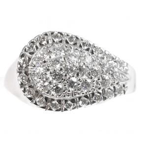 Anello simil contrarié maxi goccia oro e diamanti