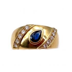 Anello fascia oro, zaffiro -0.40-0.45 ct- e diamanti