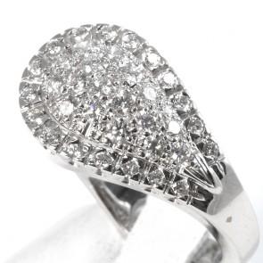 Anello simil contrarié maxi goccia oro e diamanti - 0.98 ct; 9.8 gr