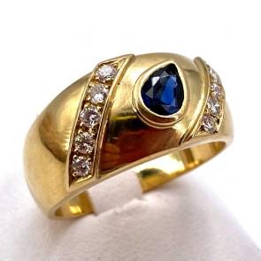 Anello fascia oro, zaffiro -0.40-0.45 ct- e diamanti - 0.20-0.25 ct.