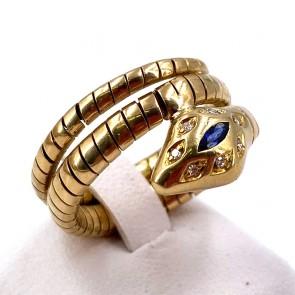 Anello serpente oro, zaffiro -0.08-0.10 ct- e diamanti - 0.08-0.10 ct. 10.09 gr.