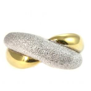 Anello fascia nodo bombato bicolore, oro; 8.7 gr