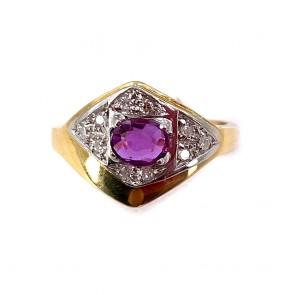 Anello fascia oro, rubino-0.50-0.60 ct- e diamanti