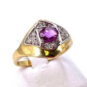 Anello fascia oro, rubino-0.50-0.60 ct- e diamanti - 0.10-0.12 ct. 4.71 gr.