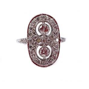 Anello in stile toppa ovale, oro e diamanti