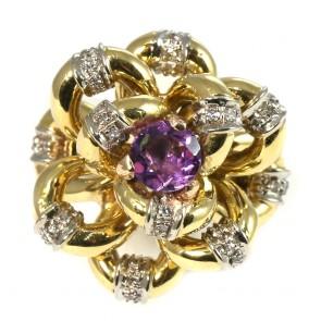 Anello maxi fiore in stile, oro, diamanti