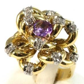 Anello maxi fiore in stile, oro, diamanti -0.30-0.35 ct- e ametista -12.3 gr