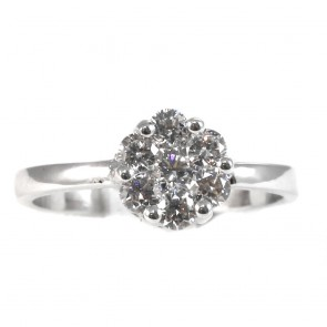 Anello fiore circolare con diamant