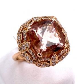 Anello oro rosa,  morganite - 10 ct - e diamanti - 1.20 ct; 9.66 gr