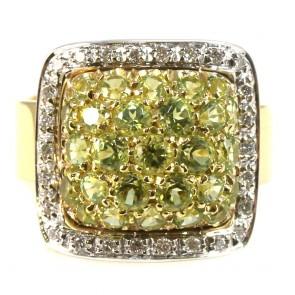 Anello maxi quadro oro, topazi lemon e diamanti