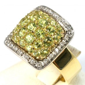 Anello maxi quadro oro, topazi lemon e diamanti - 0.26 ct-  13.9 gr