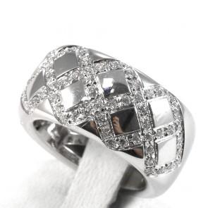 Anello maxi fascia oro e geometrie di diamanti - 0.63 ct; 14.5 gr