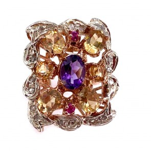 Anello, oro, argento,  pietre di sintesi e mini diamanti;