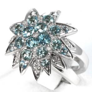Anello maxi fiore stellato doppio oro, topazi azzurri e diamanti - 0.18 ct-  14.6 gr