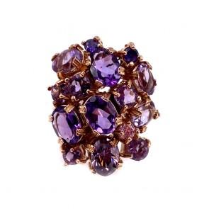 Anello, oro, argento e pietre di sintesi viola