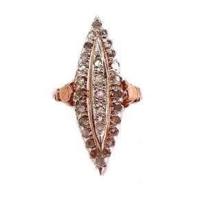 Anello spola in stile, oro, argento e mini diamanti