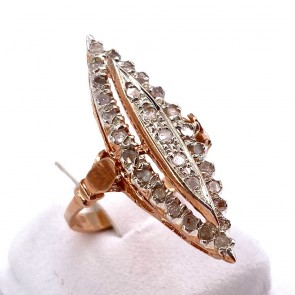 Anello spola in stile, oro, argento e mini diamanti - 0.10-0.15 ct - 4.77 gr