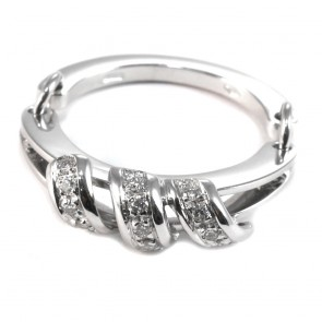 Anello fede-fascia spezzata, oro e diamanti