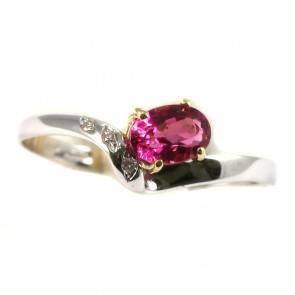 Anello oro, rubellite e diamanti
