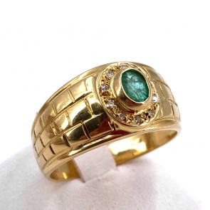 Anello fascia oro,  smeraldo - 0.30-0.35 ct - e diamanti - 0.05 ct; 5.07 gr