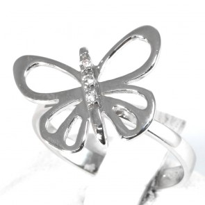 Anello farfalla oro e zirconi; 3.1 gr