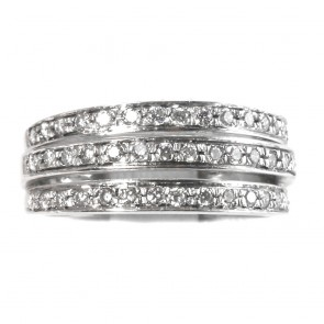 Anello fascia tripla, oro e diamanti