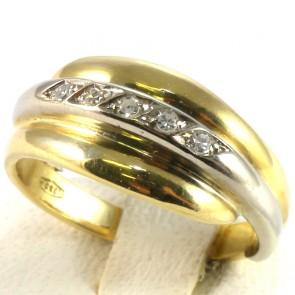 Anello fascia in oro e diamanti -0.10-0.11 ct; 5.2 gr