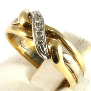 Anello fascia in oro tricolore e diamanti -0.05-0.06 ct; 3.1 gr