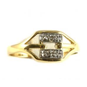Anello geometrico in oro e diamanti