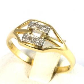 Anello geometrico in oro e diamanti -0.03-0.04 ct; 2.5 gr